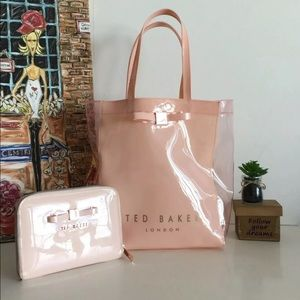 Ted Baker Plastic Tote Bag & Zippered Clutch Set